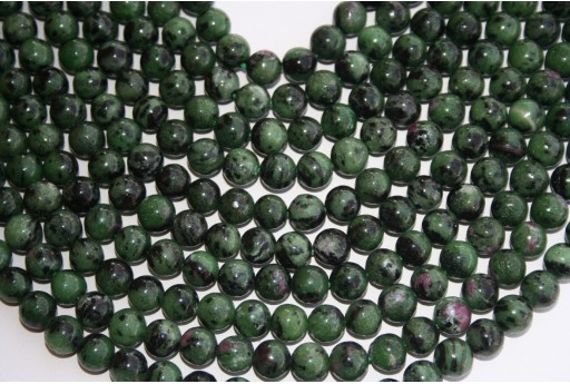 Round Ruby Zoisite Beads 8mm - 4pcs