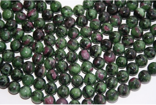 Round Ruby Zoisite Beads 10mm - 3pcs