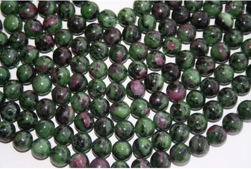 Round Ruby Zoisite Beads 10mm - 3pcs