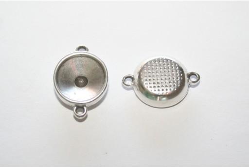Castone Connettore Argento per Rivoli 12mm - 2pz