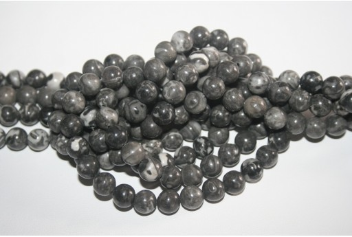 Jasper Beads Picasso Grey Sphere 8mm - 48pz