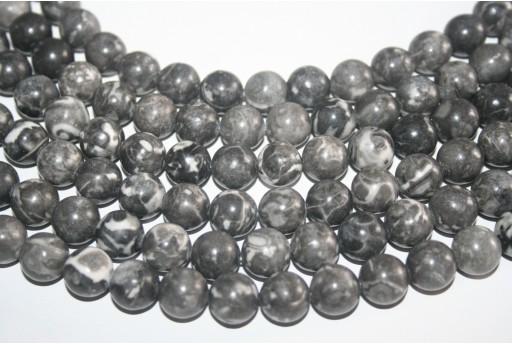 Jasper Beads Picasso Grey Sphere 12mm - 32pz