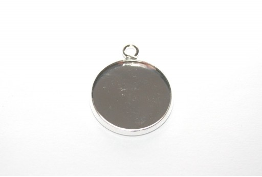 Silver Pendant Setting Tray 18mm - 2pcs