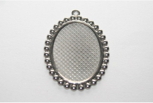 Oval Stainless Pendant Setting Tray 25x18mm - 2pcs
