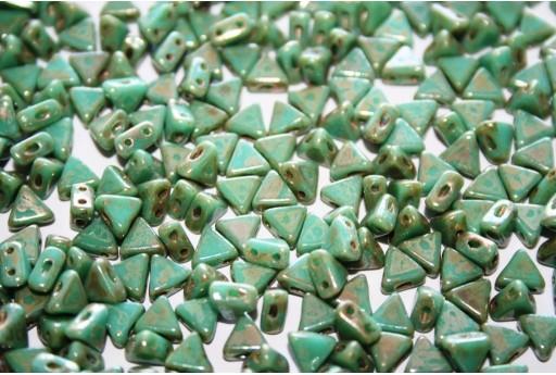 Perline Khéops® Par Puca® Opaque Green Turquoise Picasso 6mm - 10gr