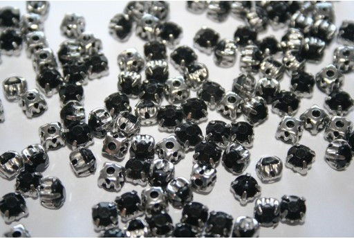 Acrylic Rhinestone Montee Beads Black 5mm - 30pcs
