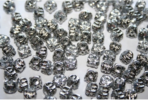 Acrylic Rhinestone Montee Beads Crystal 6mm - 30pcs