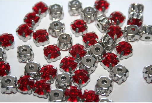 Acrylic Rhinestone Montee Beads Red 8mm - 20pcs