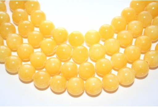 Mashan Jade Beads Yellow Sphere 10mm - 39pcs