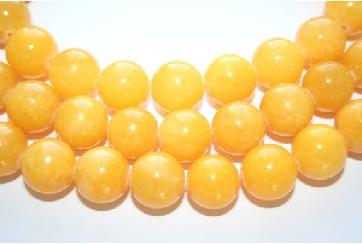 Mashan Jade Beads Yellow Sphere 14mm - 28pcs