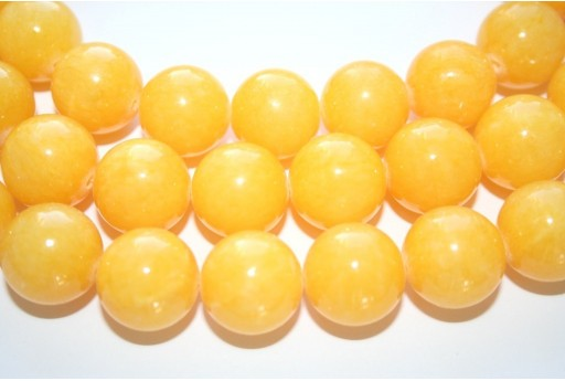 Mashan Jade Beads Yellow Sphere 16mm - 25pcs