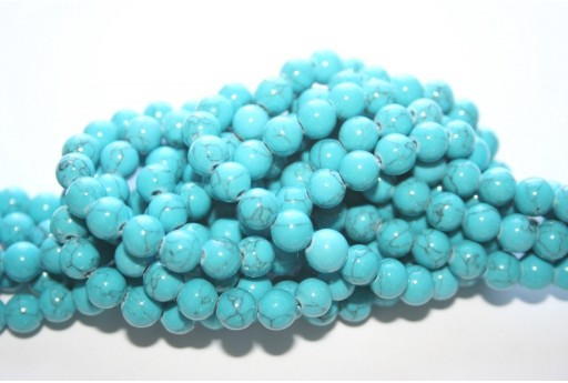 Mashan Jade Beads Veined Turquoise Sphere 6mm - 66pcs