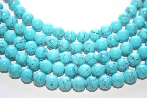 Mashan Jade Beads Veined Turquoise Sphere 8mm - 48pcs