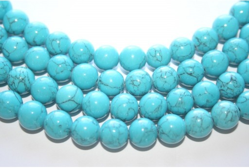 Mashan Jade Beads Veined Turquoise Sphere 10mm - 40pcs