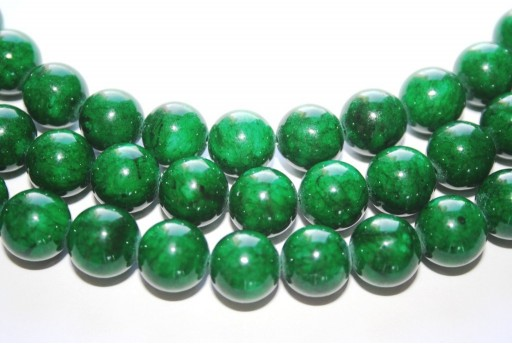Mashan Jade Beads Dark Green Sphere 12mm - 33pcs