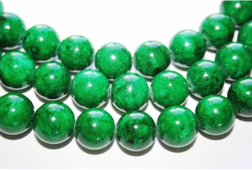 Mashan Jade Beads Dark Green Sphere 14mm - 29pcs