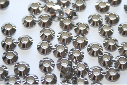 Bicone Stainless Steel Spacer Beads 6x3mm - 10pcs