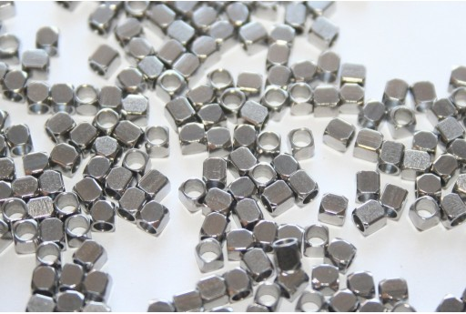 Cube Stainless Steel Spacer Beads 2,5x2,5mm - 16pcs