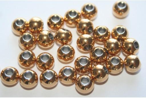 Stainless Steel Beads Sphere Golden 6mm - 4pcs