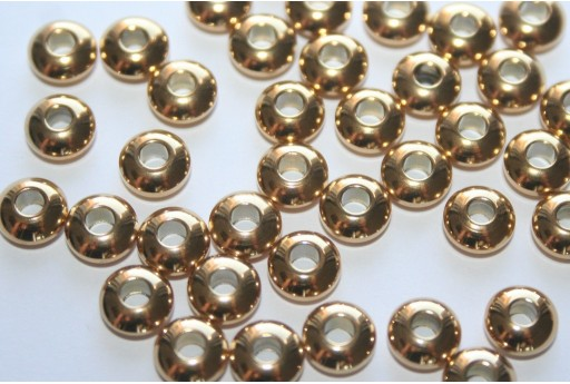 Stainless Steel Beads Rondelle Golden 6x3mm - 4pcs