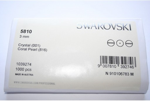 Swarovski Elements Pearls 5810 Coral 3mm - Pack 1000pcs