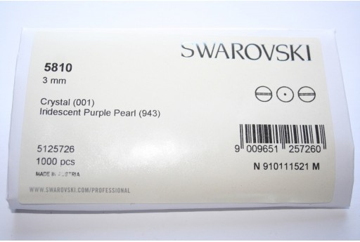 Swarovski Elements Pearls 5810 Iridescent Purple 3mm - Pack 1000pcs
