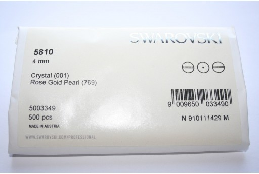 Perle Swarovski Elements 5810 Confezione Ingrosso Rose Gold 4mm - 500pz