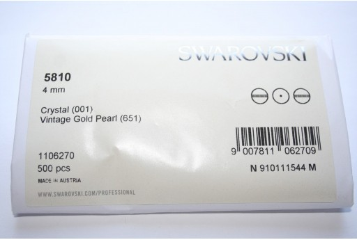 Perle Swarovski Elements 5810 Confezione Ingrosso Vintage Gold 4mm - 500pz