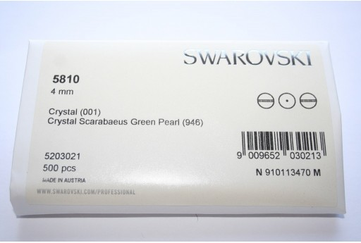 Perle Swarovski Elements 5810 Confezione Ingrosso Scarabaeus Green 4mm - 500pz