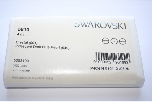 Swarovski Elements Pearls 5810 Iridescent Dark Blue 4mm - Pack 500pcs