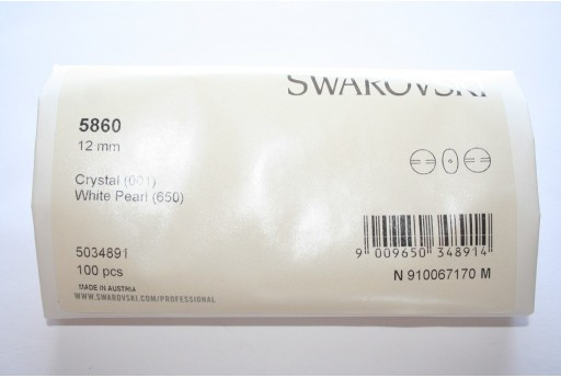 Coin Pearls Swarovski 5860 White 12mm - Pack 100pcs