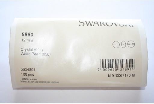 Perle Coin Swarovski 5860 Confezione Ingrosso White 12mm - 100pz