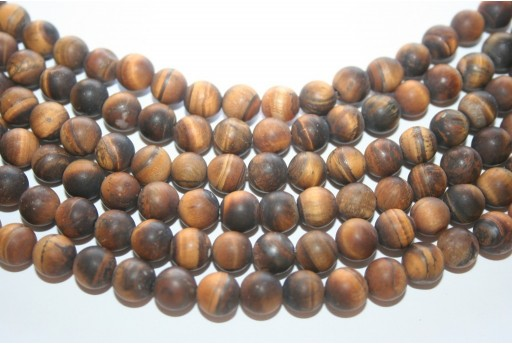 Tiger Eye Frosted Beads Round 8mm - 48pcs