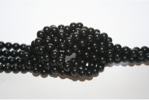 Black Onyx Frosted Rounds 6mm - 64pcs