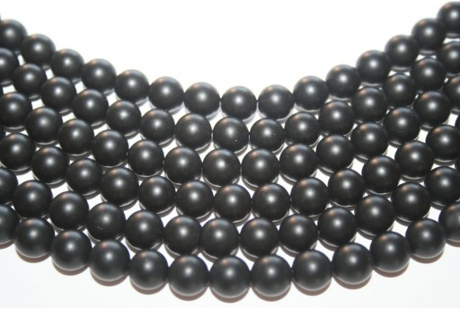 Black Onyx Frosted Rounds 8mm - 48pcs