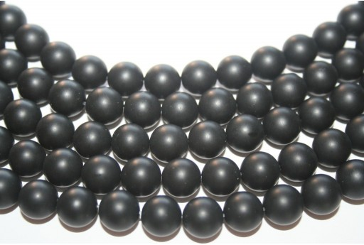 Black Onyx Frosted Rounds 10mm - 38pcs