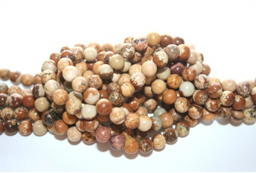 Picture Jasper Rounds 6mm - 64pcs