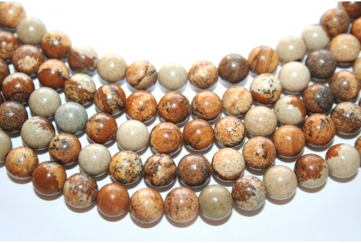 Picture Jasper Rounds 8mm - 48pcs