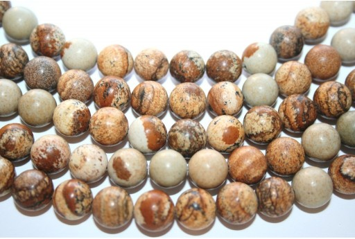 Picture Jasper Rounds 10mm - 38pcs