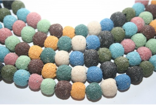 Lava Rock Beads Multicolor Round 10mm - 38pz