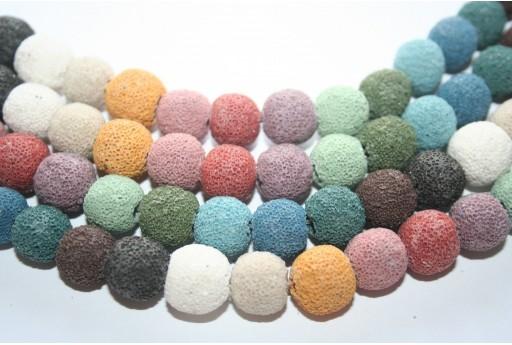 Lava Rock Beads Multicolor Round 12mm - 32pz