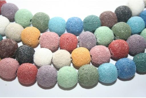 Filo Pietre Lava Multicolor Tondo 14mm - 28pz