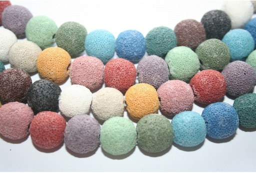 Lava Rock Beads Multicolor Round 14mm - 28pz