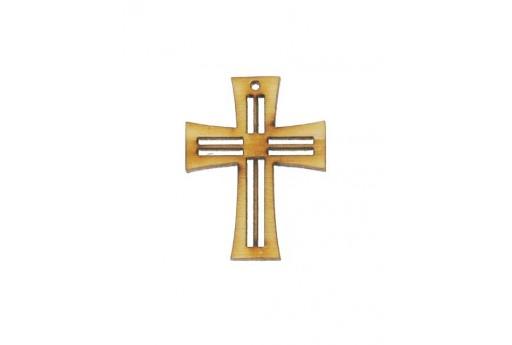 Cross Wooden Pendant 25x18mm - 4pcs