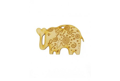 Elephant Wooden Pendant 40x62mm - 1pcs