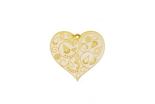 Heart Wooden Pendant 50x46mm - 1pcs