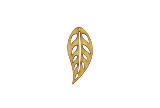 Leaf Wooden Pendant 35x11mm - 2pcs