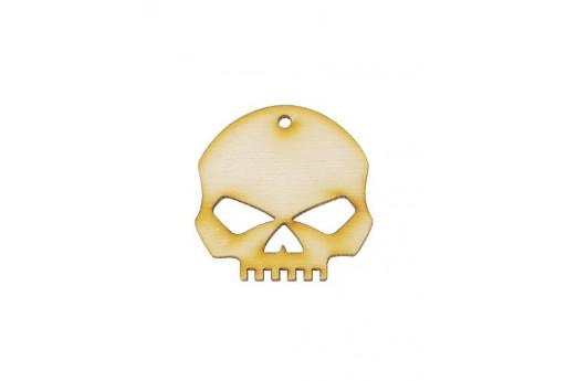 Skull Wooden Pendant 30x30mm - 2pcs