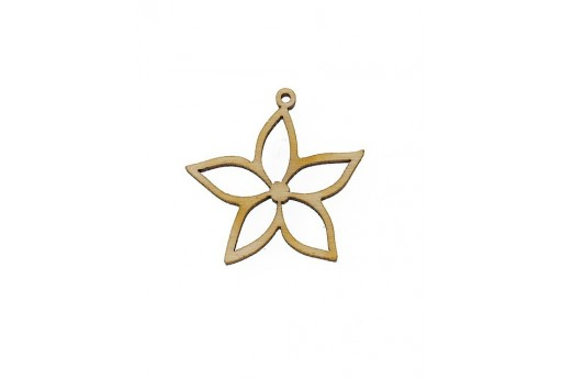 Small Flower Wooden Pendant 26x26mm - 2pcs