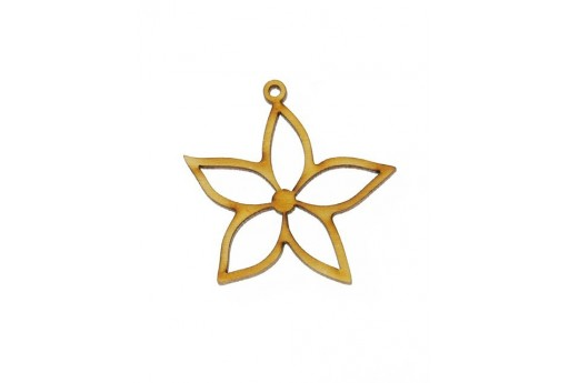 Small Flower Wooden Pendant 34x34mm - 2pcs
